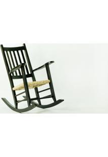 Cadeira De Balanço Palha Pestre Preta - 64X112X110 Cm