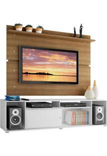 Rack Madesa Cancun E Painel Para Tv Até 65 Polegadas - Branco/Rustic