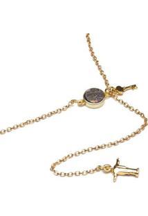 Colar Key Design Lorimer Gold Feminino - Feminino-Dourado