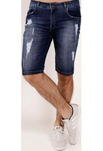 Bermuda Jeans Destroyed Masculina Azul