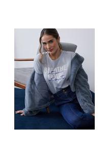 Amaro Feminino T-Shirt Breath Love, Gelo