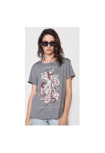 Camiseta Colcci Flores Cinza
