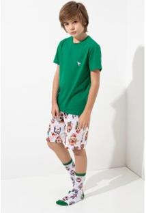 Conjunto Pijama Infantil Acuo Curto Masculino - Masculino-Verde