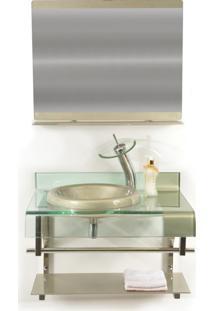 Gabinete De Vidro 70Cm Para Banheiro Turquia Champanhe Ekasa