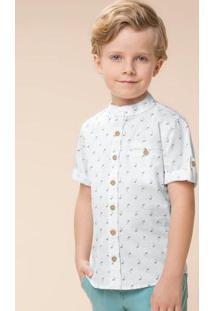 Camisa Branco Manga Curta Menino Carinhoso