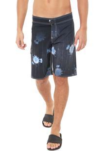 Bermuda Água Gangster Reta Floral Azul-Marinho
