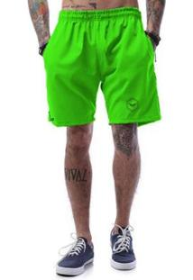 Bermuda Tactel Neon Cellos Hexagonal Premium - Masculino-Verde
