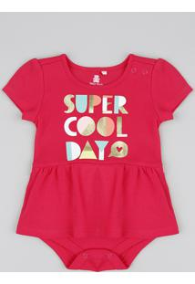 "Body Saia Infantil ""Super Cool Day"" Manga Curta Decote Redondo Rosa Escuro"