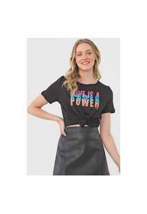 Camiseta Colcci Love Is A Super Power Preta