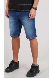 Bermuda Jeans Masculina Slim Com Bolsos Azul Médio