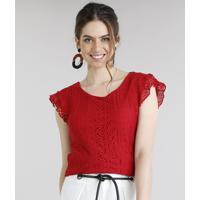 89087d131 Blusa Feminina Com Renda Manga Curta Decote Redondo Vermelha