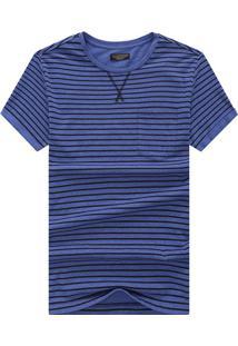Camiseta Listrada Detail V - Azul Escuro