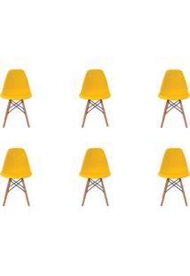 Kit 6 Peças Cadeira Eames Eiffel Rivatti Sem Braço Pp Base Madeira Amarela