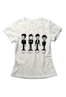 Camiseta Feminina The Beatles Signatures Off-White