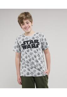 Camiseta Infantil Star Wars Estampada Manga Curta Gola Careca Cinza Mescla