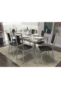 Conjunto De Mesa Com 6 Cadeiras Crome Cromado E Preto Kappesberg - Prata - Dafiti