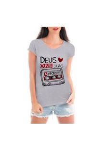 Camiseta Criativa Urbana Deus Ama Gospel Religiosa Cinza