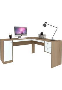 Mesa De Escritório Em L Home Office 1 Pt 2 Gv Avelã E Branca