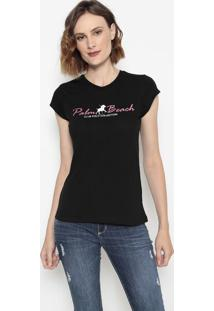"Camiseta ""Palm Beach""- Preta & Brancaclub Polo Collection"