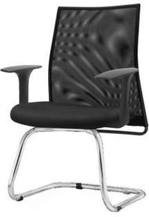 Cadeira Liss Com Braco Fixo Assento Crepe Preto Base Fixa Cromada - 54668 - Sun House