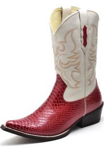 Bota Texana Em Couro Cano Alto Bico Fino Confort Gaspariano Calçados Vermelho