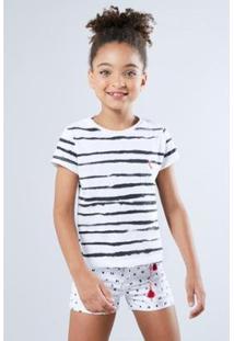 Camiseta Listra Pintura Reserva Mini Feminina - Feminino-Preto+Branco