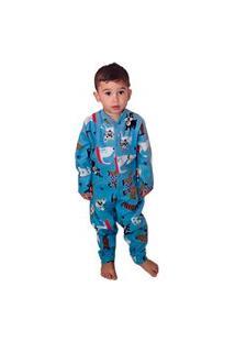 Pijama Macacão Infantil Soft Pet Tamanho Do 10 Ao 16 Azul