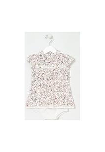 Vestido Infantil Floral Com Calcinha - Tam 0 A 18 Meses   Teddy Boom (0 A 18 Meses)   Branco   12-18M