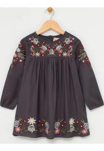 Vestido Infantil Com Bordado De Flores - Tam 1 A 4