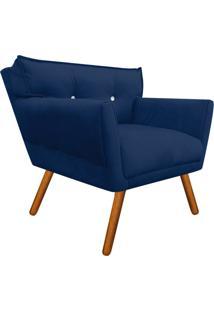 Poltrona Decorativa Anitta Suede Azul Marinho Com Strass - D'Rossi