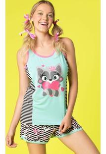 Pijama Curto Regata Visco Glitter