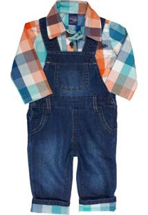 Conjunto Camisa Xadrez Com Jardineira Jeans Mister Boy