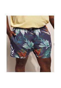 Bermuda Surf Masculina Pipe Plus Size Floral Tropical Com Bolsos E Cordão Azul Marinho