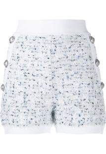 Balmain Short De Tweed Com Botões - Branco