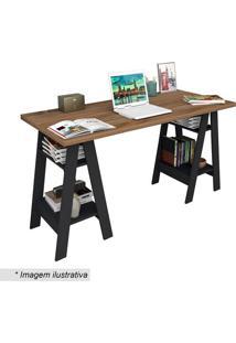 Mesa Escrivaninha Self- Castanho & Preta- 75X135X60Cappunto Móveis