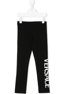 Young Versace Calça Com Estampa De Logo - Preto