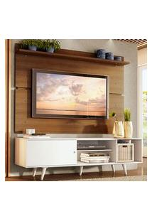 Rack Madesa Dubai E Painel Para Tv Até 65 Polegadas Com Pés Branco/Rustic 096E Cor:Branco/Rustic/Branco