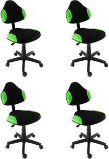 Conjunto 4 Cadeiras De Escritório Secretária Giratória Verona Verde Claro