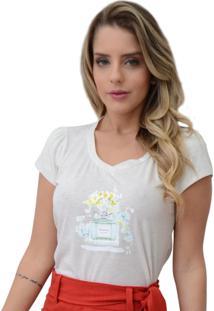 T-Shirt Mamorena Aplique Perfume Branco