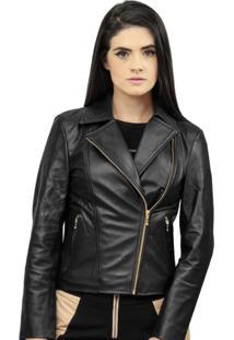 Jaqueta Corazzi Corazzi Leather Deluxe Perfecto Couro Preto