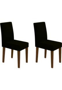 Conjunto Com 2 Cadeiras Giovana Castanho E Preto