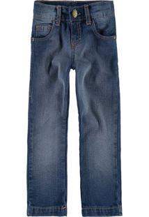 Calça Jeans Tradicional Estonada Menino Malwee Kids Azul Escuro - 16