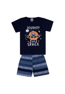 Conjunto Pijama Infantil Menino Em Meia Malha Camiseta Marinho E Bermuda Petróleo Rotativo - Kontrat