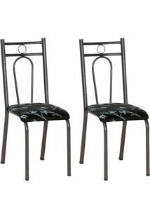 Conjunto 2 Cadeiras Hanumam Cromo Preto E Preto Flor