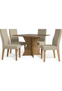 Mesa Para Sala De Jantar Com 4 Cadeiras Ba28-Kappesberg - Freijo / Bege