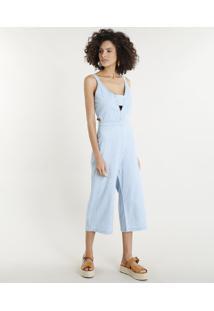 8a7d3152d CEA. Macacão Jeans Feminino Pantacourt Com Vazados Azul Claro