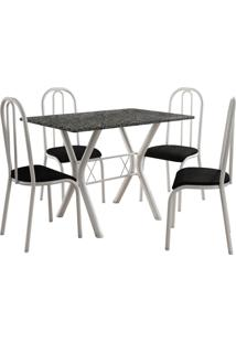 Conjunto De Mesa Miami 4 Cadeiras Branco/Preto Fabone