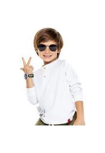 Camisa Menino Manga Longa Malha Branca C/ Botões Digi