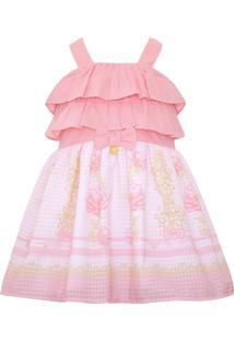 Vestido Para Festa Sonho Mágico Tecido Floral Arabesco Rosa
