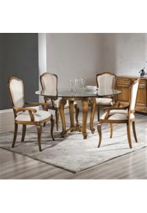 Mesa De Jantar Luxo Redonda Com 1 Base Madeira Maciça Design Clássico Avi Móveis